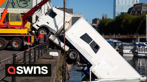 Lorry for BBC One show 'The Outlaws' has been partially submerged - after reversing into a harbour