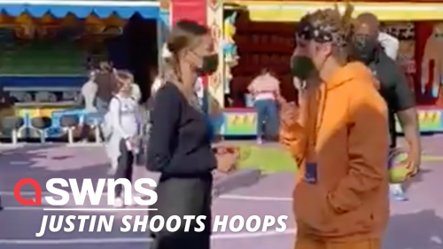 Justin Bieber and wife Hailey shoot hoops at Universal Studios Hollywood (RAW)