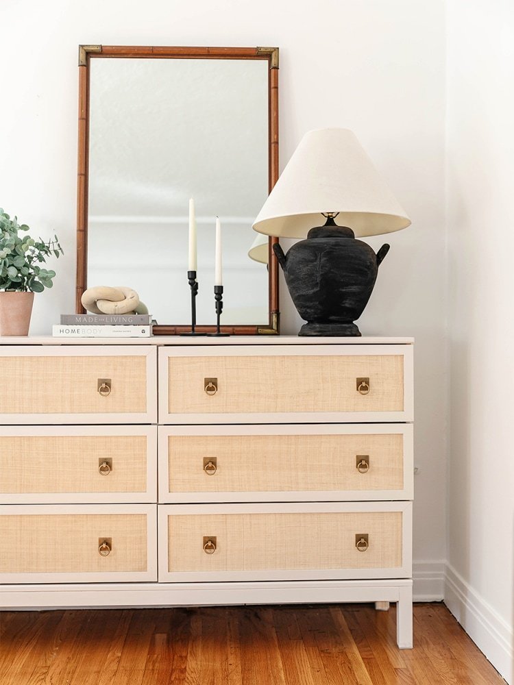 A roll of raffia cloth makes this IKEA dresser only look expensive