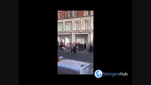 UK: Big Crowd Seen Outside Harrods Store In London On First Weekend After Lockdown Eased