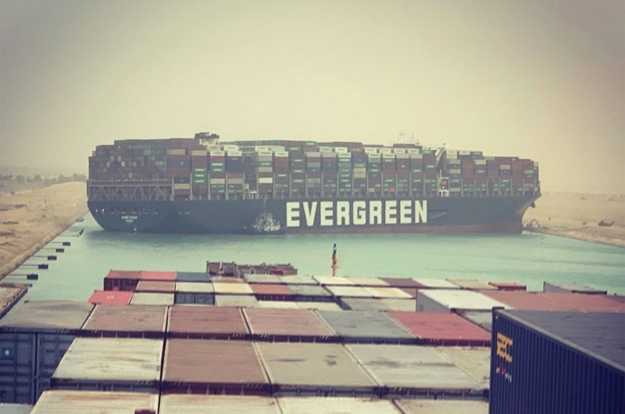 Giant container ship blocks Suez Canal