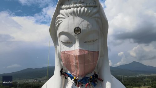 Workers in Japan Put Face Mask on Giant Buddhist Goddess Statue to Pray for End to COVID-19