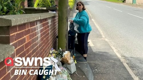 'Callous' UKIP candidate caught on camera dumping a floral tribute shrine for Vinnie Dennis - into the BIN (RAW)