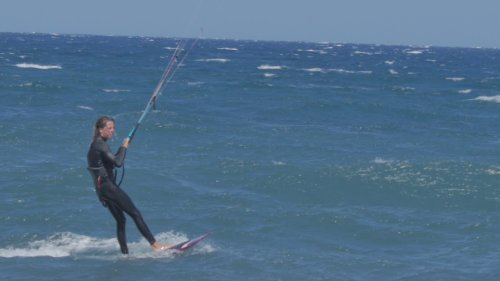 Kiteboarder Performs Double Front Roll