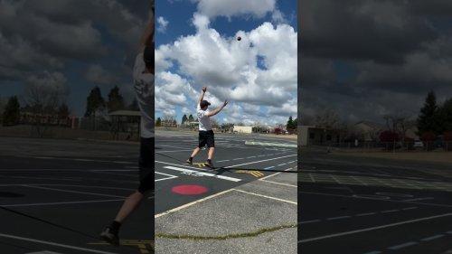 Slacklline guy throws Hail Mary pass to skater
