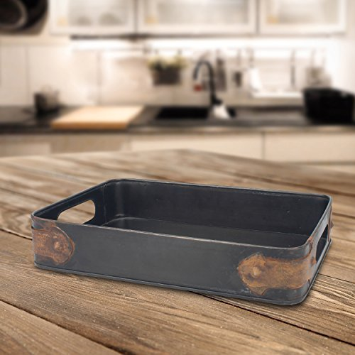 Slate metal tray with trim for serving snacks & drinks