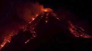 Mt. Etna Erupts Spewing Vibrant, Glowing Lava Into the Night Sky