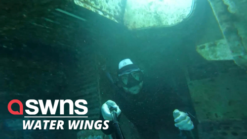 Watch this diver explore sunken wreckage of a Hercules transporter plane (RAW)