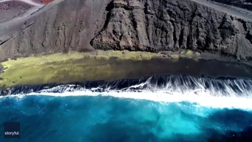 Jogger Visits Secluded 'Green Sand' Beach in Hawaii