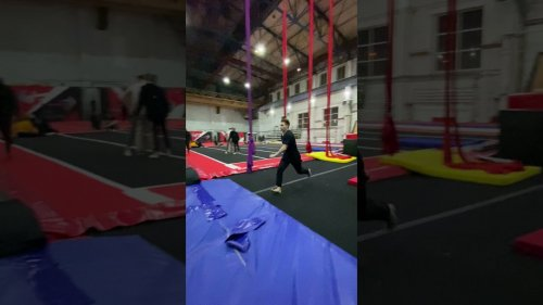 Parkour athlete's legs burn out in training