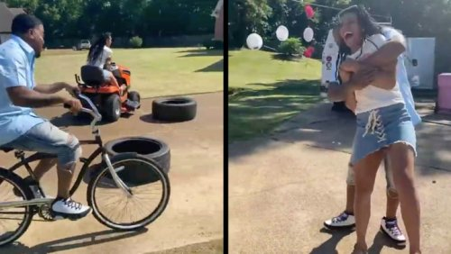 Couple Completes Obstacle Course To Learn Genders Of Their Twins