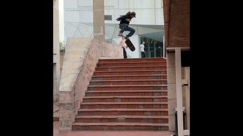 Skateboarder Performs Incredible Kickflip