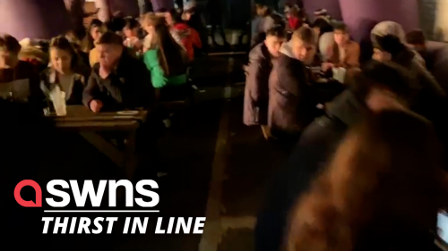Hundreds of people queue outside pub to enjoy first post-lockdown pint - RAW