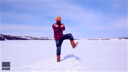 Canadian Bhangra Dancer Marks 2nd Vaccine Dose With Return to Frozen Lake