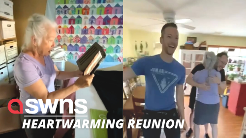 A mum screamed with disbelief after she was surprised by two of her sons after spending five months apart (RAW)