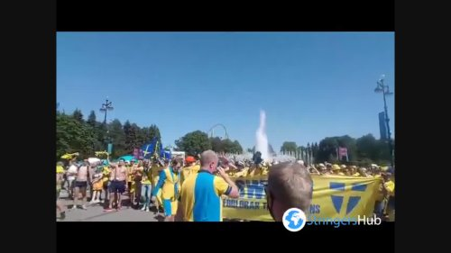 Sweden fans taking over Saint Petersburg, Russia ahead of the game with Slovakia