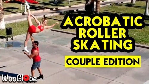 'Rollerblading couple sets skatepark on fire with FLAWLESS Acrobatic Inline Figure Skating routine '