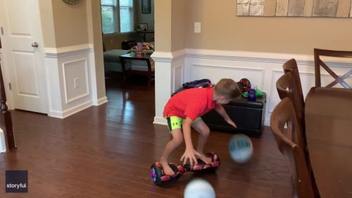 Innovative 7-Year-Old Finds Way to Hone Both His Hoverboarding and Dribbling Skills