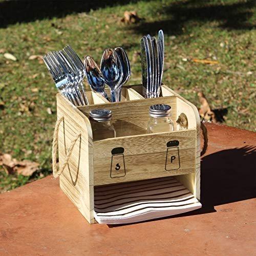 Outdoor wooden flatware holder