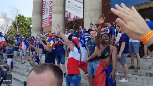 French Fans Party in Budapest Ahead of Hungary Game