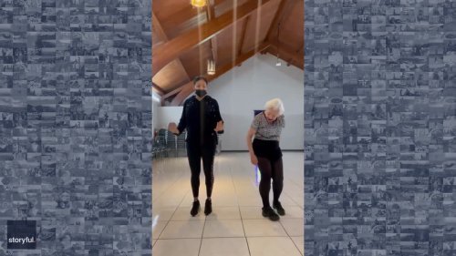 93-Year-Old Dance Student Keeps Pace With Miami Zumba Teacher