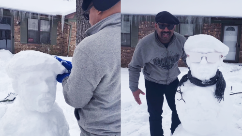 'Kids Shocked as Dad Sculpts a Snowman that Looks like him'