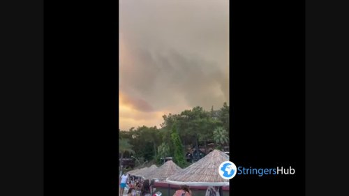 Smoke from forest fires in Marmaris, Turkey obscured the sun