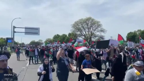 Marchers Rally for Palestine During Presidential Visit in Dearborn
