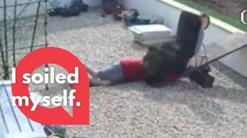 Gardener slips down a walkway - tipping a wheelbarrow of soil onto his head!