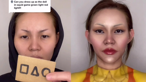 'Aussie Squid Game fan turns herself into the creepy robot doll from the show'