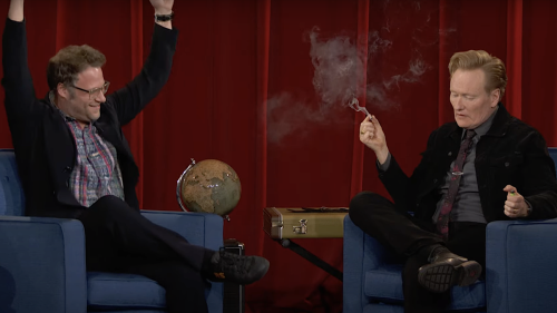 Conan O'Brien Smoked Weed Onstage with Seth Rogen