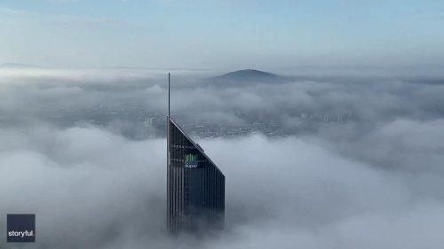 Stunning Eagle-Eye View Shows Fog Shrouding Brisbane