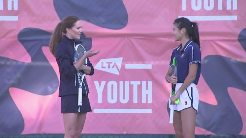 Kate holds court with tennis ace Emma Raducanu at LTA event