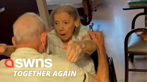 US couple married for 73 year REUNITE in care home after spending nearly a whole year apart (RAW)