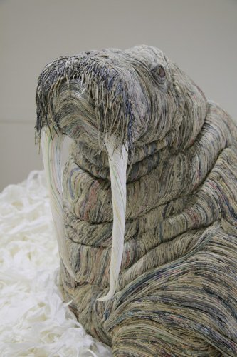 Japanese Artist Transforms Old Newspapers Into Expressive Creatures