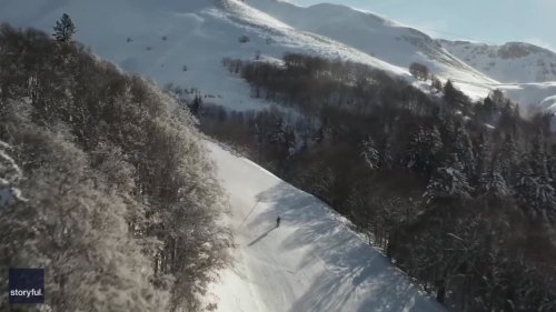 No Ski Lift? No Problem! Skier Uses Giant Fan to Reach Top of Slope at French Resort