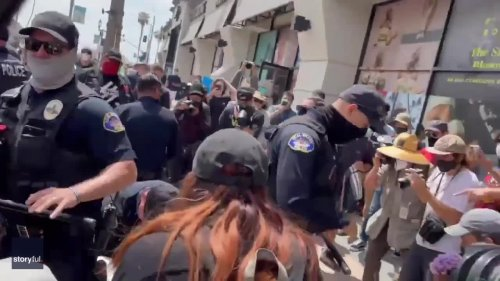 Police Break Up Scuffle at California 'White Lives Matter' Protest