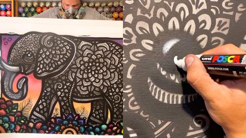 'Brazilian Spray Paint Artist Creates Impeccable Elephant Artwork'