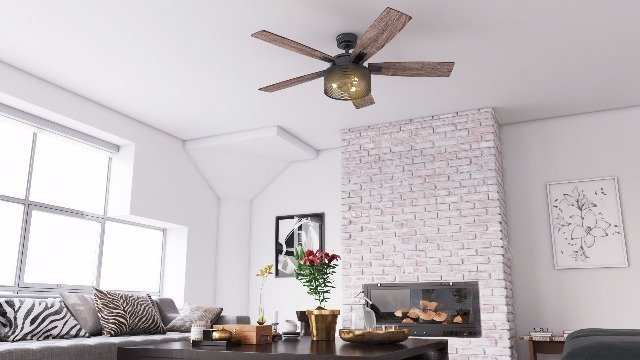 Ceiling fan with barnwood blades
