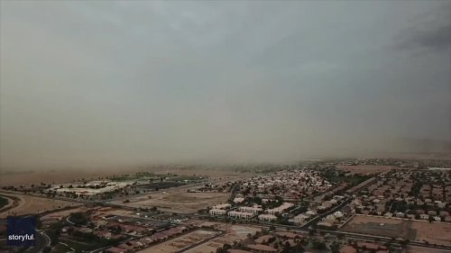 Drone Captures Dust Cloud Rolling Over Southern Arizona