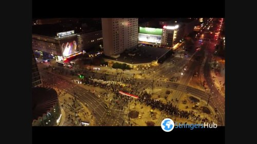Drone Footage Of Women's Strike Against Abortion In Warsaw, Poland