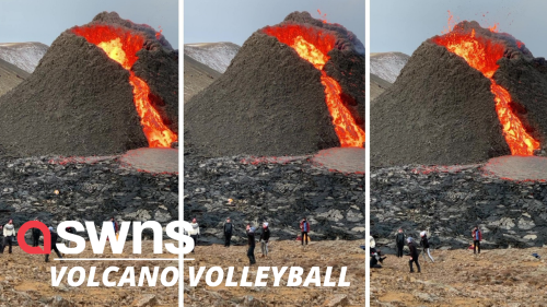 Volleyball players have a game in front of an erupting volcano (RAW)