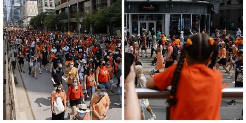Thousands Of People In Orange Marched Through Downtown Toronto On Canada Day