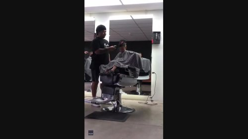 Short Back and Snooze: Boy Nods Off in Barber's Chair