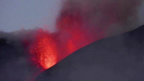 Mount Etna shows off sunset eruption