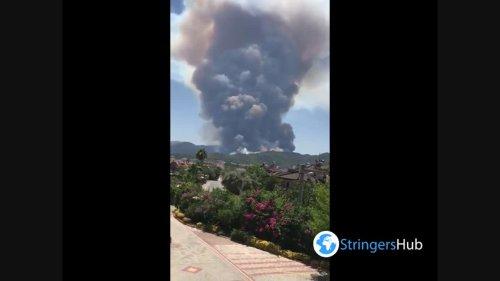Huge mushroom of smoke from a forest fire seen in Marmaris, Turkey