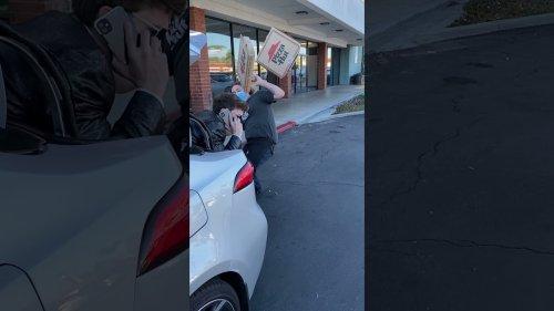 Kid Scares Pizza Driver In Epic Prank