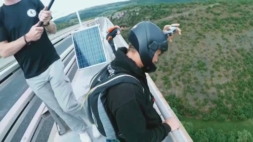 Daredevil Base Jumps Off Bridge