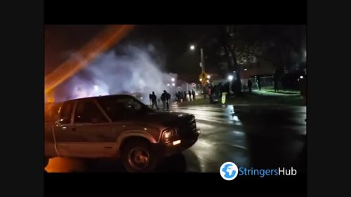US: Protest Against Deadly Police Shooting Of Daunte Wright For Third Night In Minnesota