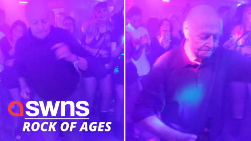 This elderly man dancing to METAL music at a rock bar in the UK proves that age is just a number